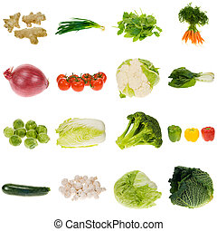 vegetable collection isolated on a white background, all...