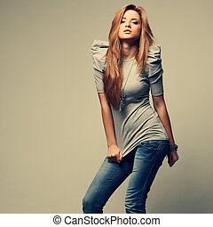 A photo of beautiful girl is in fashion style, glamur