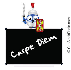 Latin Seize the Day message - Blackboard with Latin Seize...