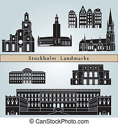 Stockholm landmarks and monuments isolated on blue...