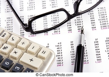 Financial Statement - Financial statement with calculator,...