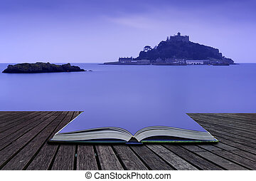 Creative, concept, pages, book, St, Michael's, Mount, Bay,...