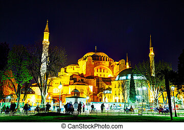 Hagia Sophia in Istanbul, Turkey early in the evening -...