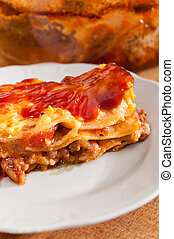 home made lasagne - Home lasagnia baked straight from the...