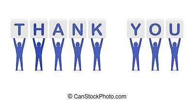 Men holding the phrase thank you. - Men holding the phrase...