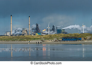 industry on the beach with dark sky