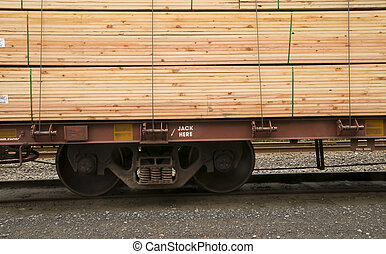 Lumber Loaded Railroad Car Transportation Boxcar Contruction...