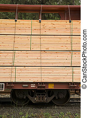 Lumber Loaded Railroad Car Transportation Boxcar Contruction Mat