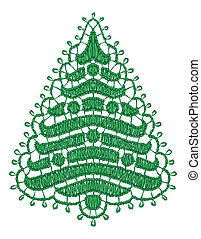 Lacy Christmas tree. Vector illustration.