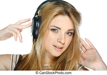 Beautiful girl with headphones isolated on a white background