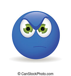 angry - abstract blue angry emoticon on white background