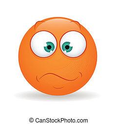 Serious - abstract serious orange emoticon on white...