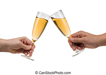 champagne toast - Man and woman toasting champagne isolated...
