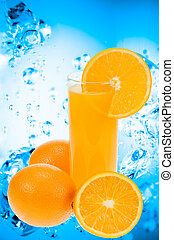 Fresh orange juice with water splash background
