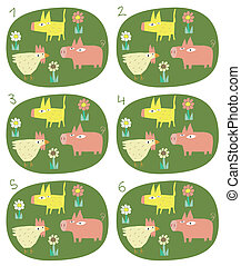 Match Pairs Visual Game: Animals. Task: find two identical...