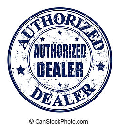Authorized dealer stamp - Black grunge rubber stamp with the...