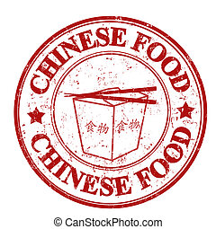 Chinese food stamp - Red grunge rubber stamp with the text...