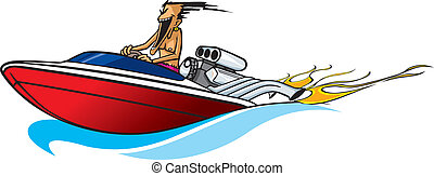 Boat freak - Crazy vector cartoon of a guy and his power...