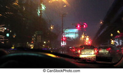 Driving on a rainy street