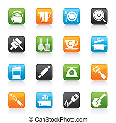 kitchen gadgets and equipment icons - vector icon set