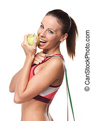 Keep in shape - Portrait of young fitness brunette isolated...