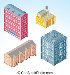 Isometric Buildings 2 - Detailed isometric vector Buildings,...
