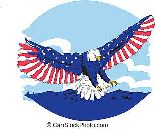 Red White and Blue American Eagle - Wing Spread vector...