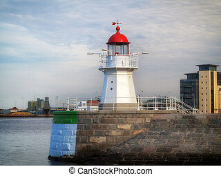 MALMO, SWEDEN old lighthouse on August 7, 2013 - MALMO,...