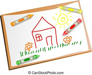 kids drawing - Childs drawing of a house with coloured...