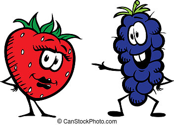 Strawberry n Grape - Cartoon strawberry and grapes. Layered...