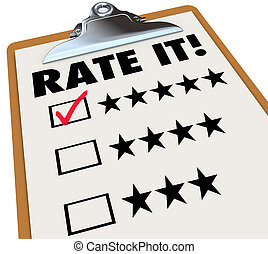 Rate It Stars Reviews Feedback Clipboard - The words Rate It...