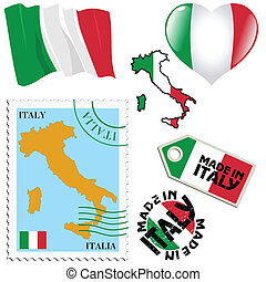 national colours of Italy - set of different symbols in...
