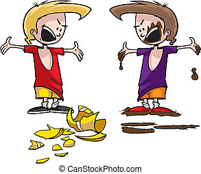Arguing Boy - Cartoon of a boy in trouble. Two boys with two...