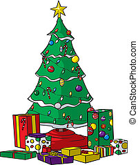 Christmas tree with presents - A vector cartoon Christmas...