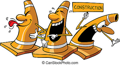 Orange Construction Cones - Three vector cartoon...