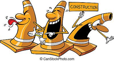 Orange Construction Cones - Three vector cartoon...