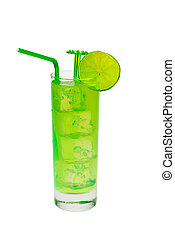 green cocktail with lime - green cocktail with slice of lime...