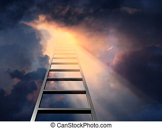 Ladder into dramatic sky