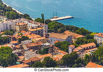 Zadar - Aerial view of the old town with church tower