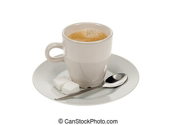 hot coffee with teaspoon and sugar isolated on white a white...