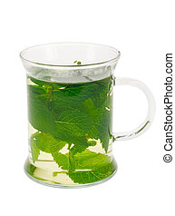 fresh mint tea isolated on a white background