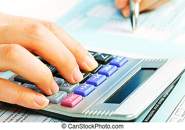 Hands with calculator. - Hands of accountant with calculator...