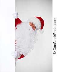 Christmas Santa with banner Gifts delivery concept