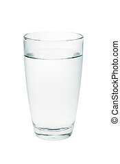 glass of clear water isolated on a white background