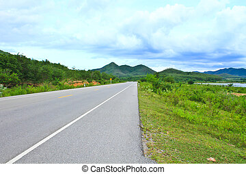 view of asphalt road in Phetchaburi Province Thailand