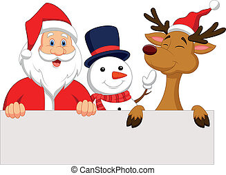 Cartoon Santa Claus, reindeer and s - Vector illustration of...