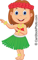 Little Hula Girl cartoon - Vector illustration of cartoon