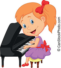 Cute little girl cartoon playing pi - Vector illustration of...