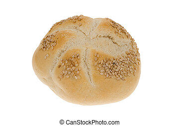 bread bun with seeds isolated on a white background