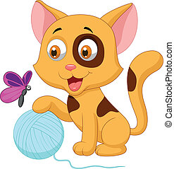 Cute cat cartoon playing with ball - Vector illustration of...